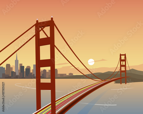 San Francisco i Golden Gate Bridge Scene