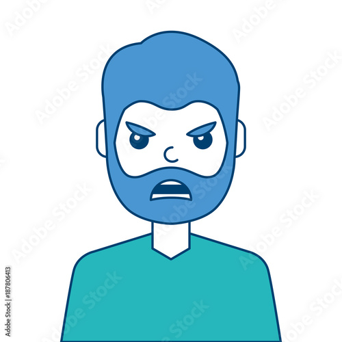portrait man face angry expression cartoon vector illustration blue and green design - 187806413