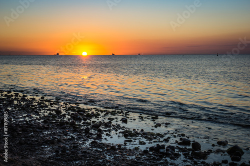 Aluminium Zonsopgang Sunrise over the Baltic sea, Gdynia, Poland