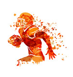 Vector watercolor silhouette american football player - 187813824