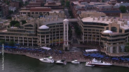 Washington, D.C. circa-2017, Aerial view of the Washington Harbor. Shot with Cineflex and RED Epic-W Helium.