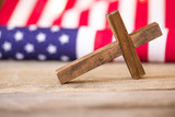 Holy Christian Cross and American Flag Background - 187816249