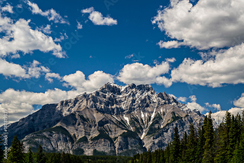 Fotobehang Bleke violet ROCKIES AND CLOUDS NEAR BANFF ALBERTA CANADA