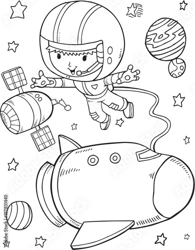 Foto op Canvas Cartoon draw Outer Space Astronaut Space Shuttle Vector Illustration Art