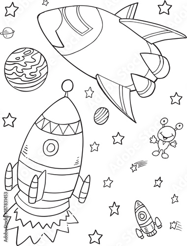 Foto op Canvas Cartoon draw Outer Space Rocket Vector Illustration Art