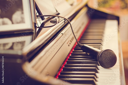 Piano keyboard and microphone - 187836224