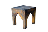 Old wooden stool isolated on white background with clipping path. - 187836850
