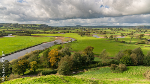 Fotobehang Bleke violet Landscape in Carmarthenshire, seen from Dryslwyn Castle, Dyfed, Wales, UK