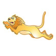 angry lion leaping with roaring vector cartoon