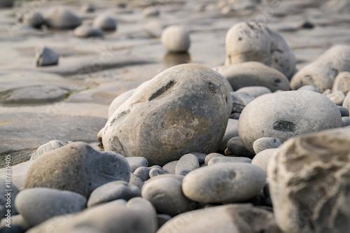 The stones of Monknash Beach, Vale of Glamorgan, Wales, UK - 187839405