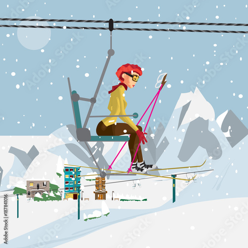Young woman with skis is climbing the ski lift to the top of the