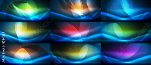 Set of vector neon flowing wave abstract backgrounds - 187841295