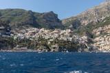 Positano seen from the sea on Amalfi Coast in the region Campania, Italy