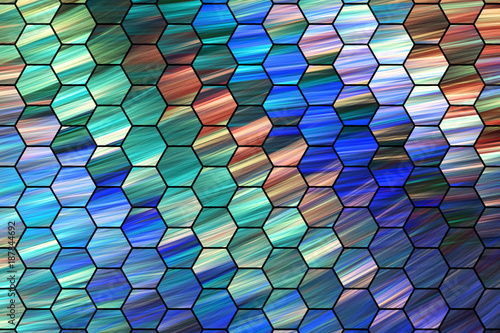 Staande foto Abstract wave Abstract green, brown and blue hexagonal texture. Fractal background. Fantasy digital art. 3D rendering.