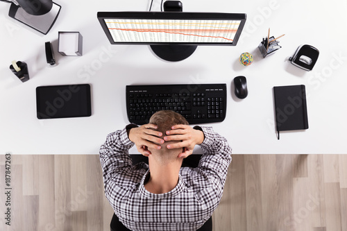 Foto Murales Frustrated Business Man In Front Of Computer