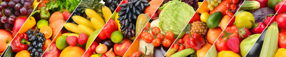 Panoramic collection fruits and vegetables background. Collage. Wide photo .