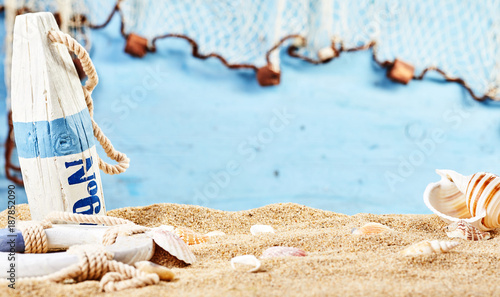 Foto op Canvas Noordzee Nautical still life on beach sand