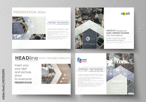 Set of business templates for presentation slides. Easy editable abstract vector layouts in flat design. Colorful background made of dotted texture for travel business, urban cityscape. - 187856094