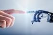 Businessperson's Finger Touching Robotic Finger