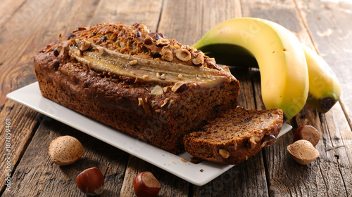 banana bread on wood background