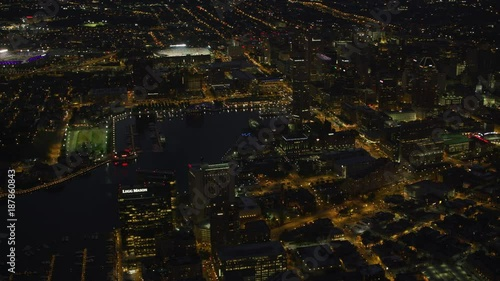 Baltimore, Maryland circa-2017, Aerial view of downtown Baltimore at night.  Shot with Cineflex and RED Epic-W Helium.