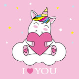 unicorn hugging a heart and sitting on a cloud