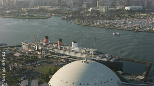 Long Beach, California circa-2017, Aerial shot of The Queen Mary and Long Beach harbor. Shot with Cineflex and RED Epic-W Helium.
