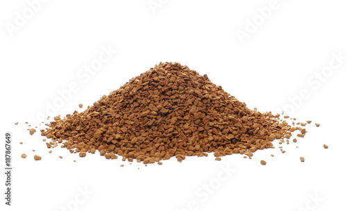 Deurstickers Koffiebonen instant coffee grains isolated on white background and texture