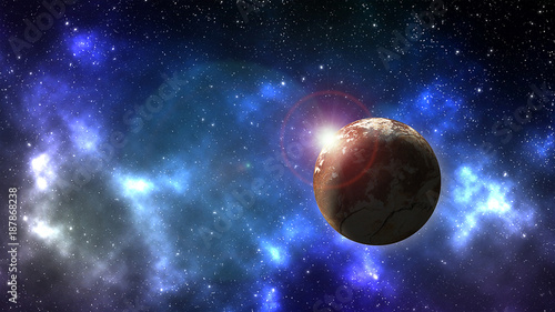 Planet in outer space background with nebula  full of stars - 187868238