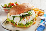 Healthy fresh seafood burger with fish fillet - 187871290