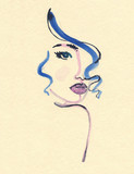 Abstract woman face. Fashion illustration.  - 187874296