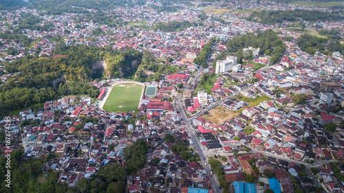 Fotobehang Olijf Aerial view at Bukittingi city,West Sumatra,Indonesia