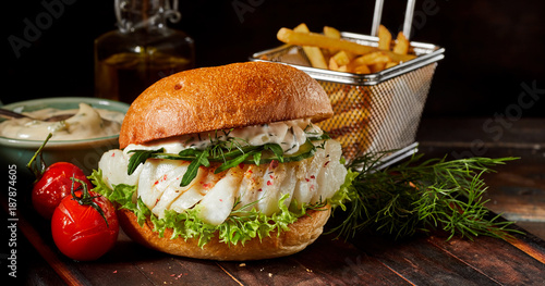 Gourmet seafood codfish burger with fish fillets