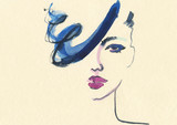 Abstract woman face. Fashion illustration.  - 187875640