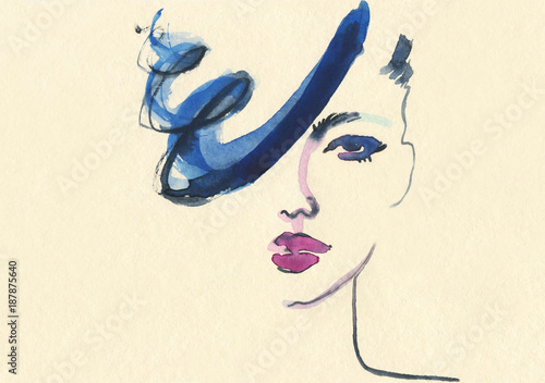 Abstract woman face. Fashion illustration.