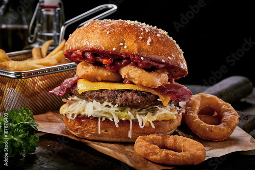 Surf and turf seafood and meat burger