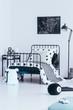 Contrast color bedroom interior