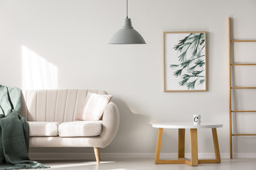 Apartment interior with beige sofa