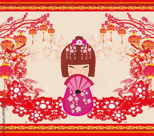 Kokeshi doll cartoon character - 187881699