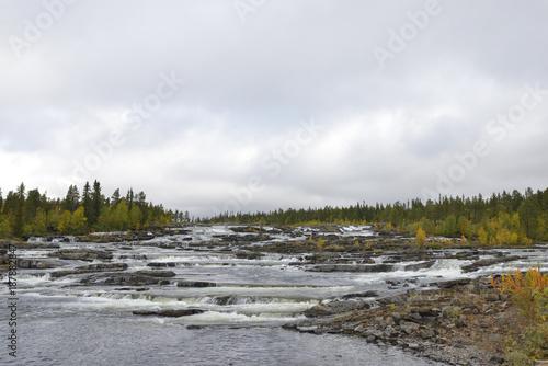 Foto Murales Trappstegsforsen der Kaskaden Wasserfall an der Wildnisstrasse im Herbst