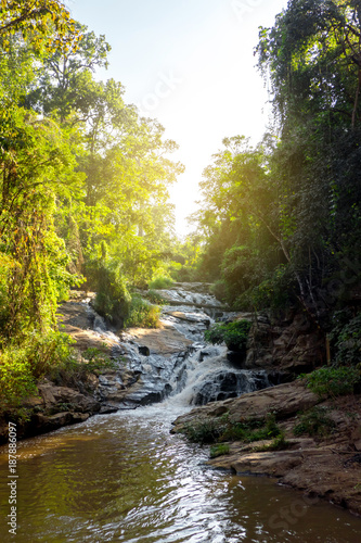 Papiers peints Rivière de la forêt The beautiful waterfall in the national park in Thailand with lots of shade trees in the suny day.