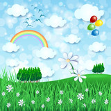 Spring landscape with big flower and balloons - 187887473