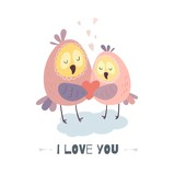 I love you. Cute owls with heart. Vector illustration for Valentine's day, poster, postcard, and other.