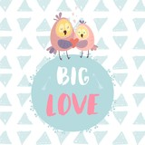 Big love. Cute owls with heart on round frame. Vector illustration for Valentine's day, poster, postcard, and other.