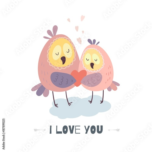 Fotobehang Uilen cartoon I love you. Cute owls with heart. Vector illustration for Valentine's day, poster, postcard, and other.