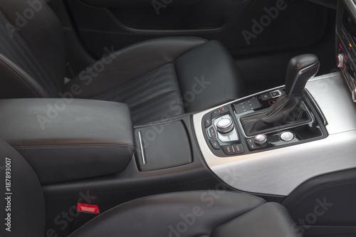 Fototapeta gear lever in the modern car, detail Interior