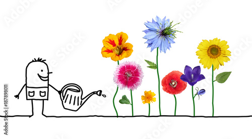 Cartoon Gardener Watering Flowers