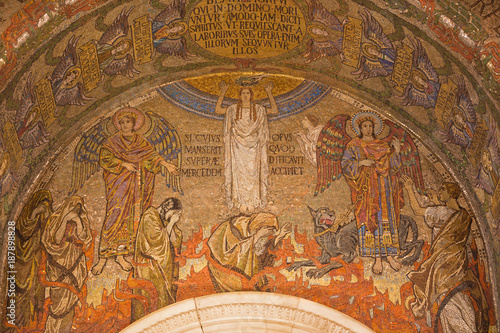 LONDON, GREAT BRITAIN - SEPTEMBER 17, 2017: The mosaic of symbolic last judgment  in Westminster cathedral designed by Clayton & Bell (begin of 20. cent.). © Renáta Sedmáková