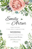 Fototapety Wedding Invitation, invite save the date floral card vector Design: garden lavender pink peach Rose Succulent wax green palm leaves elegant greenery eucalyptus forest bouquet wreath frame border print
