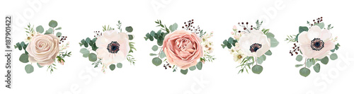 Vector floral bouquet design: garden pink peach lavender creamy powder pale Rose wax flower, anemone Eucalyptus branch greenery leaves berry. Wedding vector invite card Watercolor designer element set - 187901422